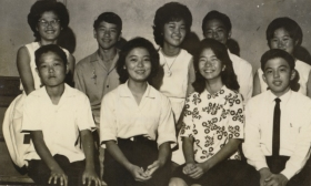 Back: Joyce Matsumoto, Gordon Fujimoto, Diane Teshima, Michael Arakawa, Faye. Front: ??,??,??, Reggie Yamada